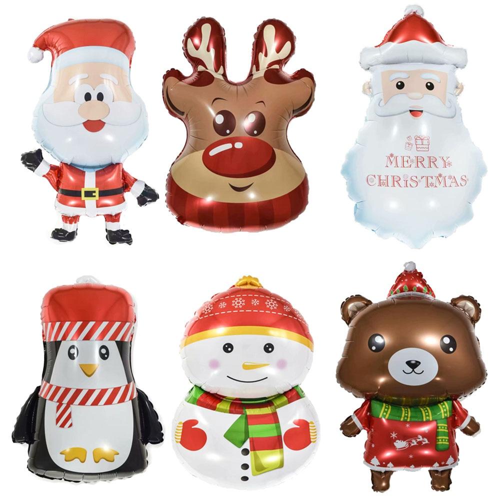 6Pcs Christmas Aluminum Balloons Set Santa Claus Snowman Elk Bear Penguin Balloons For Home New Years Festival Decorations