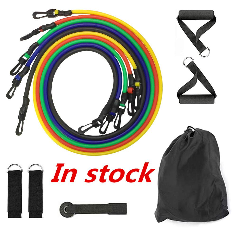 11pcs/set Pull Rope Fitness Exercises Resistance Bands Latex Tubes Pedal Exerciser Body Training Workout Yoga Brick Dropshipping image