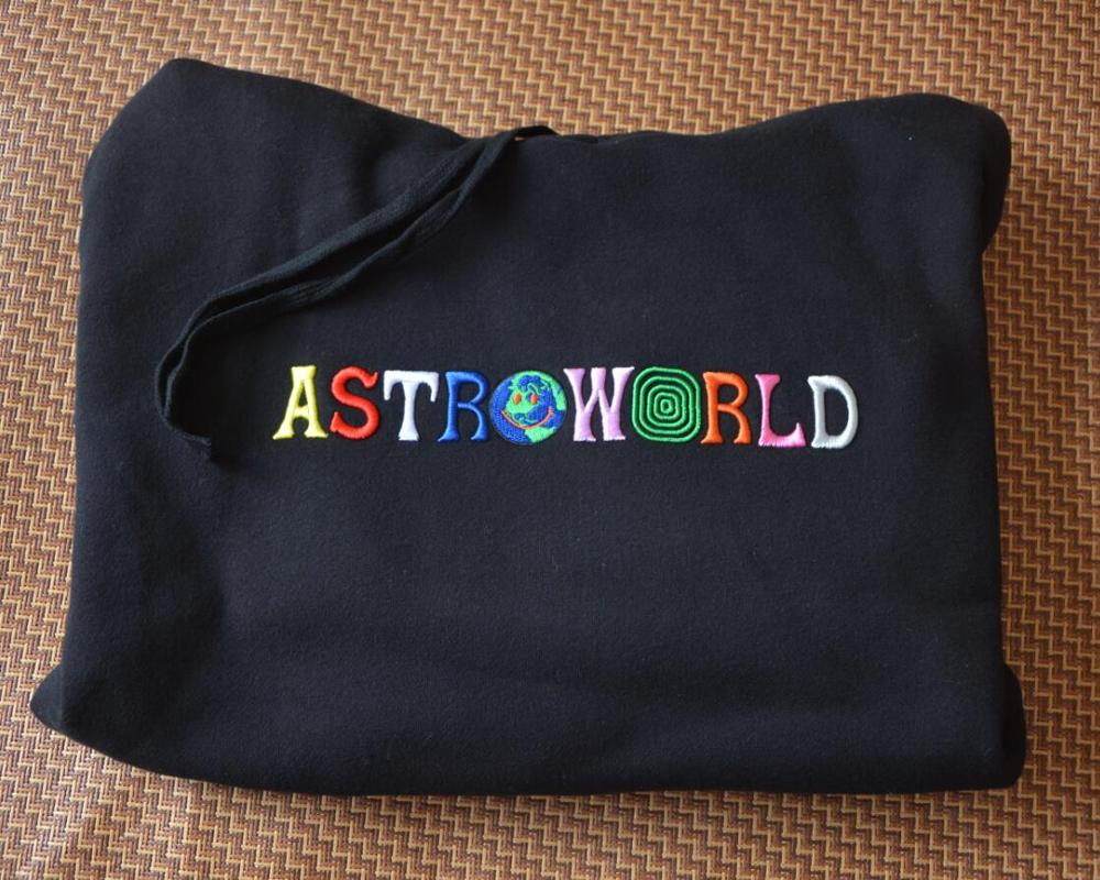 2020 TRAVIS SCOTT Astroworld WISH YOU WERE HERE Embroidered Rainbow Letter Men Women Pullover Hoodies Fashion Hip Hop Sweatshirt 1