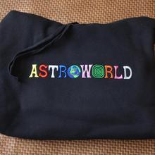 Women Pullover Hoodies Hip-Hop-Sweatshirt Rainbow-Letter Travis Scott Astroworld Embroidered