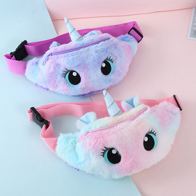 Cute Unicorn Female Plush Waist Bag Kids Fanny Pack Cartoon Plush Women Belt Bag Fashion Travel Phone Pouch Chest Bag