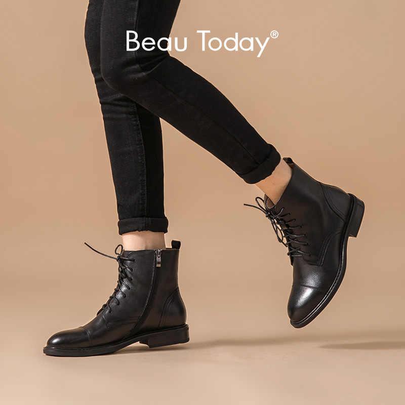 BeauToday yarım çizmeler kadın hakiki inek deri yuvarlak ayak fermuar dantel-up moda bayan botları düşük topuk kış ayakkabı el yapımı 03611