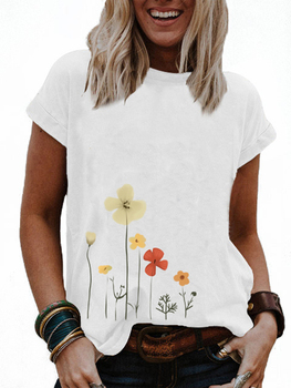 Diy Summer Fashion Round Neck Short Sleeve Solid Color Print T-shirt Casual Ladies Loose Cotton Blouse Tops For Women Plus Size 1