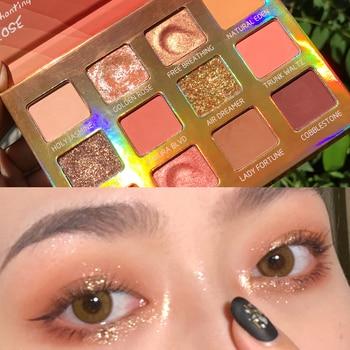 12 Color Glitter Matte Eyeshadow Palette Makeup Brushes Glitter Shimmer Pigment Smoky Eye Shadow Pallete Waterproof Cosmetics недорого