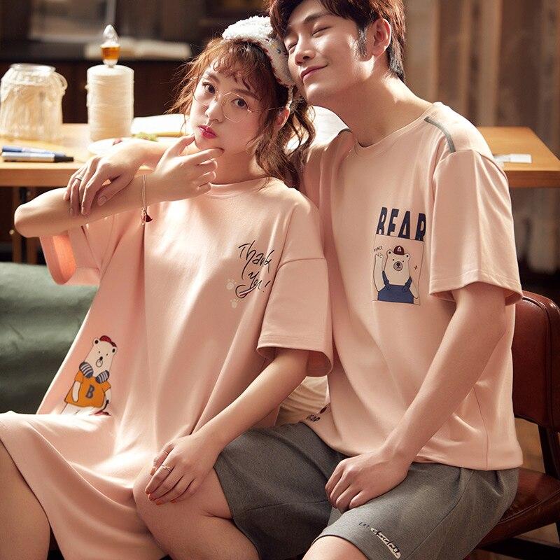 Fashion Couple Pajamas Set 2020 Summer Cotton Men's Pajamas Two-piece Cartoon Short Sleeve Women's Nightdress
