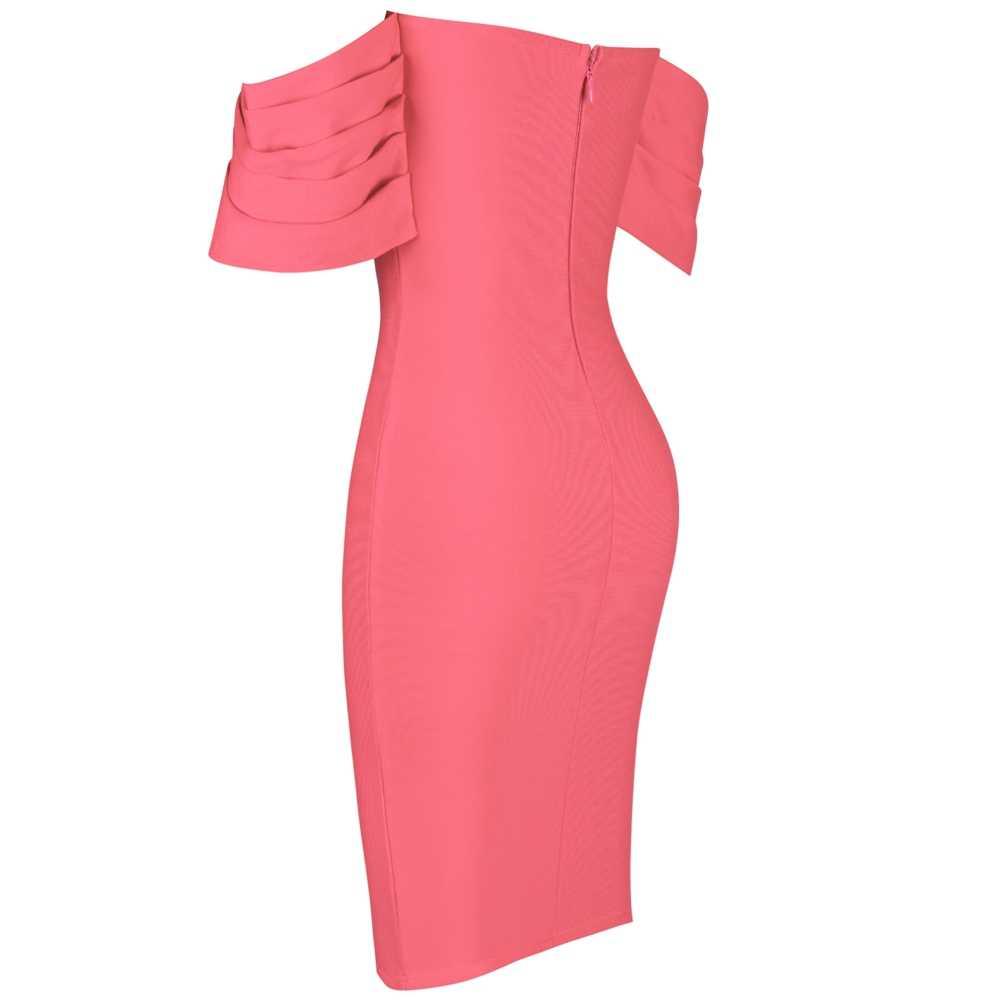 Cerf dame femmes moulante été robe de pansement 2019 nouveauté rose épaules nues robe de pansement fête célébrité robe moulante Sexy