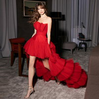 Verngo A line Red Evening Dress Short Elegant Organza And Tulle Prom Dress Strapless Party Gowns Abiye Gece Elbisesi