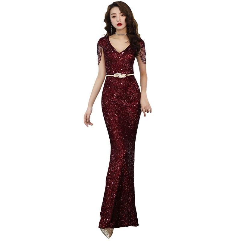 Evening Dress Sexy V-neck Sequin Robe De Soiree 2019 Beading Women Party Dresses Short Sleeve Elegant Formal Evening Gowns F086