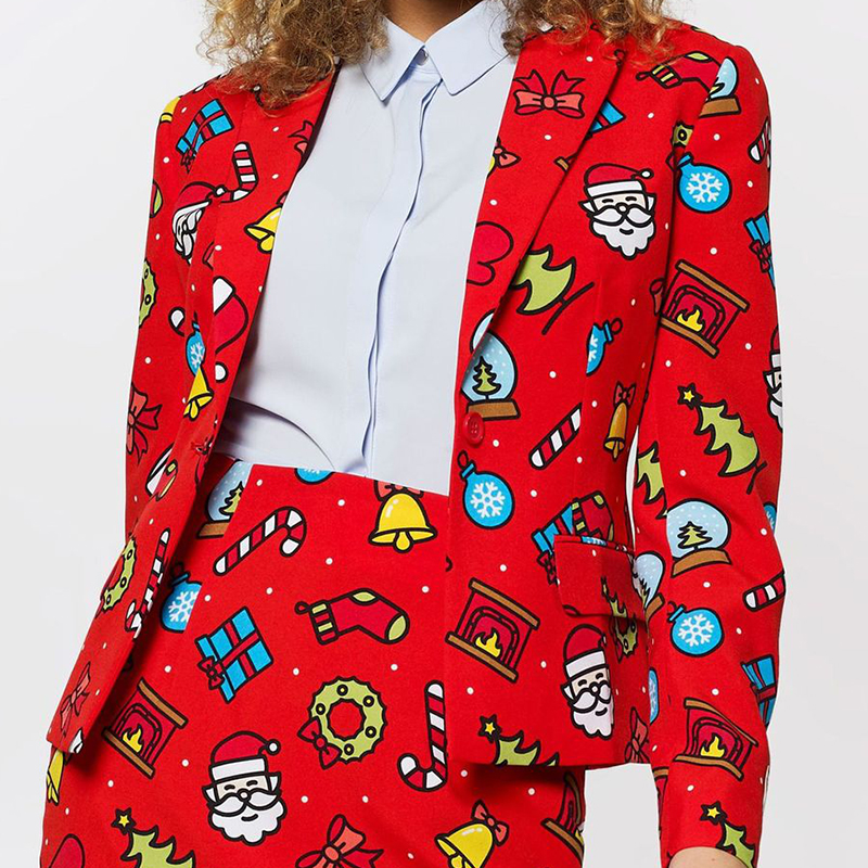 Christmas Blazer Women Snowman Print Jacket New Year Party Red Feminino Lady Office Short Streetwear D30