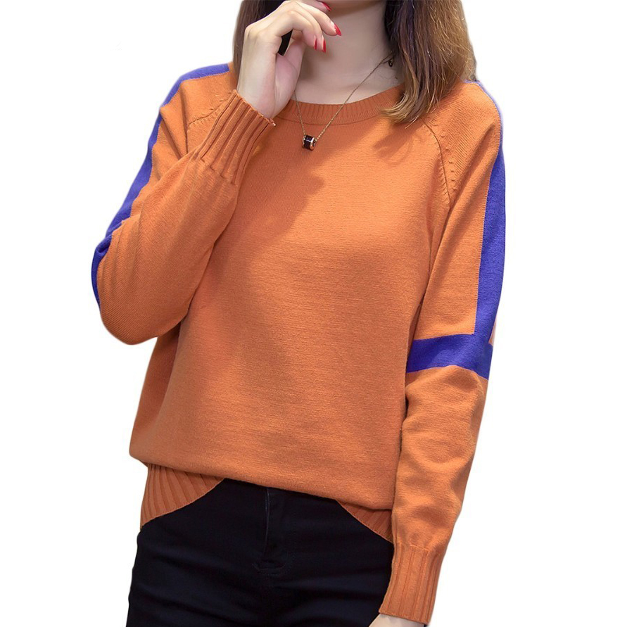 Plus Size Pullovers Sweater Women 2019 Autumn Winter Casual Loose Knitted Tops Oversized Striped Patchwork Soft Knitwear Jumper