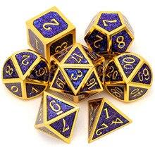 Haxtec Metall Glitter DND Würfel Set D & D Gold Schwarz Blau Lila Polyhedral Würfel Rollen Spiele RPG Würfel