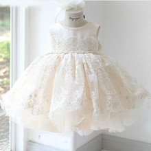 Baby-Girl-Dresses Christening 1st Birthday Baptism Ball-Gown Tulle Dress Lace Wedding