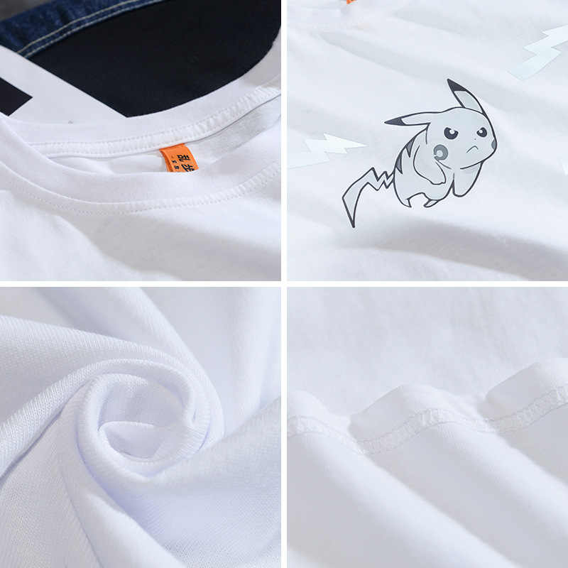 Pokemon Pikachu Glowing Mens Pornhub 티셔츠 2020 Summer New 반팔 남성 티셔츠 Fashion Anime Printed Tee Shirts Men tops