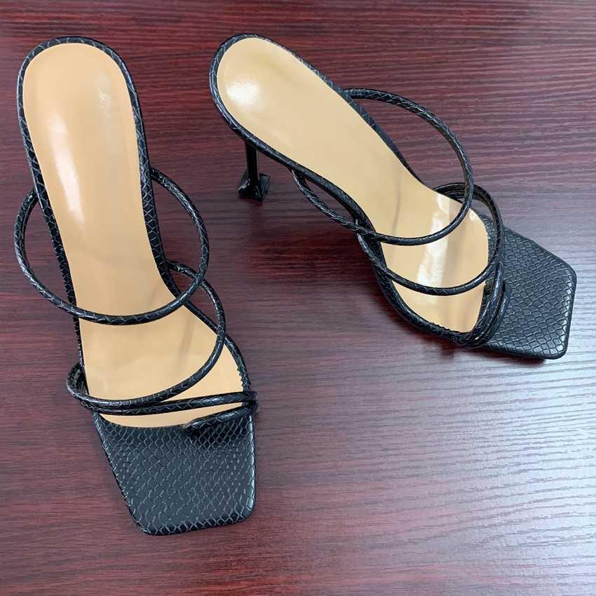 Kadın sandalet yılan baskı strappy katır topuklu sandalet terlik kadın yüksek topuklu flip flop kare ayak slaytlar parti ayakkabıları kadın
