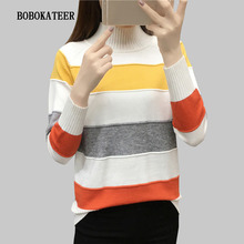BOBOKATEER striped christmas sweater turtleneck women sweaters fashion 2019 sueter mujer pull femme pullover