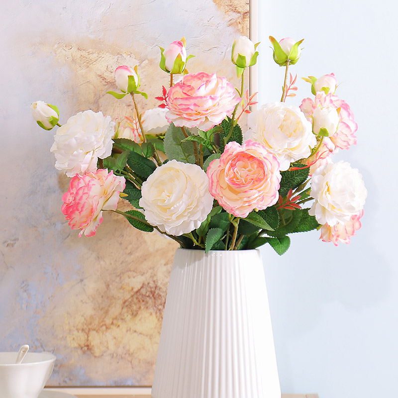 Garfos 3 peônia flores Artificiais rosas Brancas para decoração de casa festa de casamento flores De Seda falsa flor Noiva casamento Falso flor