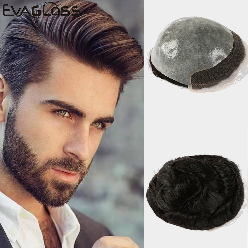 EVAGLOSS Ominilace Mens Toupee Durable Bleached Knots In Front Skin Base Indian Human Hair Male Wig Nature Hairline Wig For Men