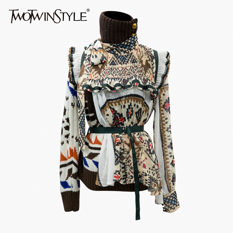 TWOTWINSTYLE Print Asymmetrical Women's Sweaters Turtleneck Long Sleeve High Waist With Sashes Ruffles Irregular Sweater Female