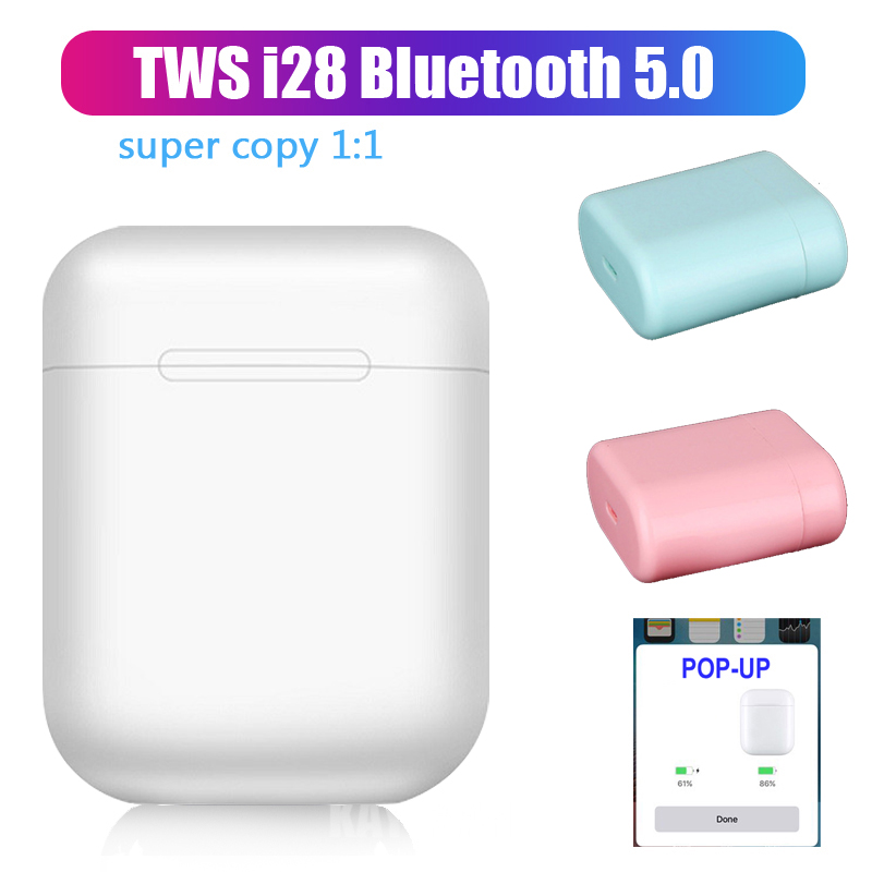 I28 <font><b>TWS</b></font> 1:1 3D Stereo Air 2 <font><b>Pop</b></font> <font><b>Up</b></font> Separate Use Wireless Mini Earphone QI Wireless Charging Headset PK W1chip <font><b>I13</b></font> I200 I30 I100 image