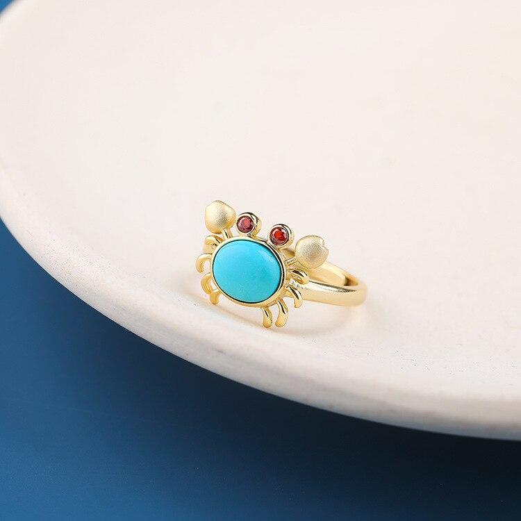 CMajor S925 bijoux en argent Sterling pierres précieuses doux délicat crabe Style haute qualité flambant neuf Turquoise mode anneaux pour les femmes