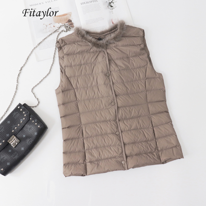 Fitaylor Winter 90% Ultra Light White Duck Down Vest Jacket O Neck Sleeveless Vest Plus Size 3xl Single Breasted Duck Down Coats
