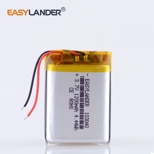 CE ROHS 3.7V 1200mAh 103040 Polymer lithium ion / Li ion battery for MP3 player alarm portable speaker DVD GPS VR Car DVR MP4