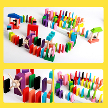 Domino 120 Pcs/set Wooden Domino Set Domino Institution Accessories Jigsaw Dominoes Toys For Children Educational Toys Sale 120 dominoes in 12 colors contains a set of 10 domino accessories kids wooden domino building blocks toys classic montessori toy