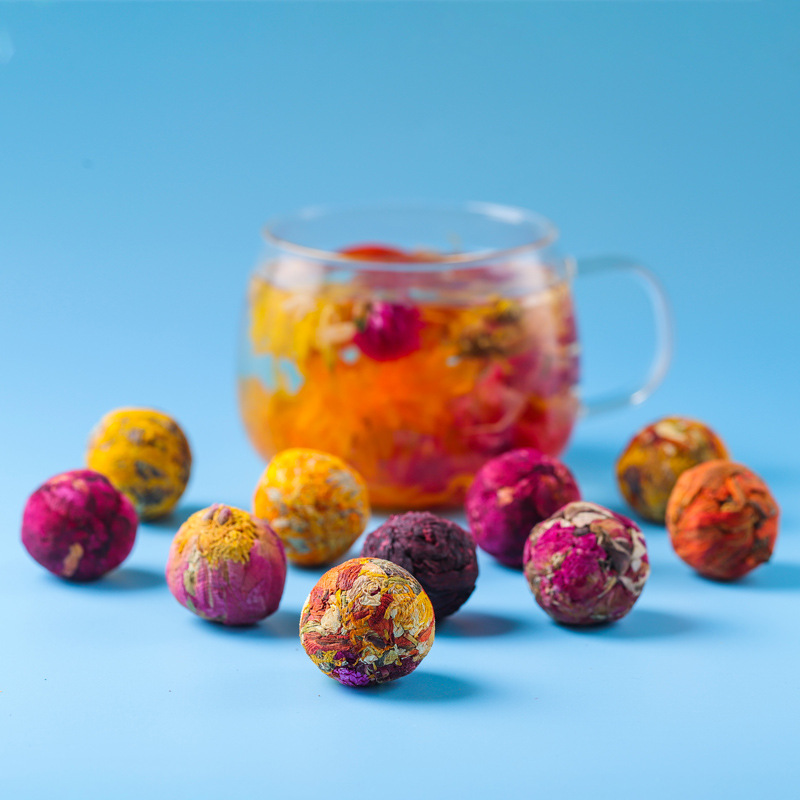 2021  Flower Tea Handmade Gift Set with 10 Kinds Ball Chinese Rose