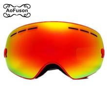 AoFuson Brand ski goggles double layers UV400 anti-fog big mask glasses skiing men women snowmobile snow snowboard