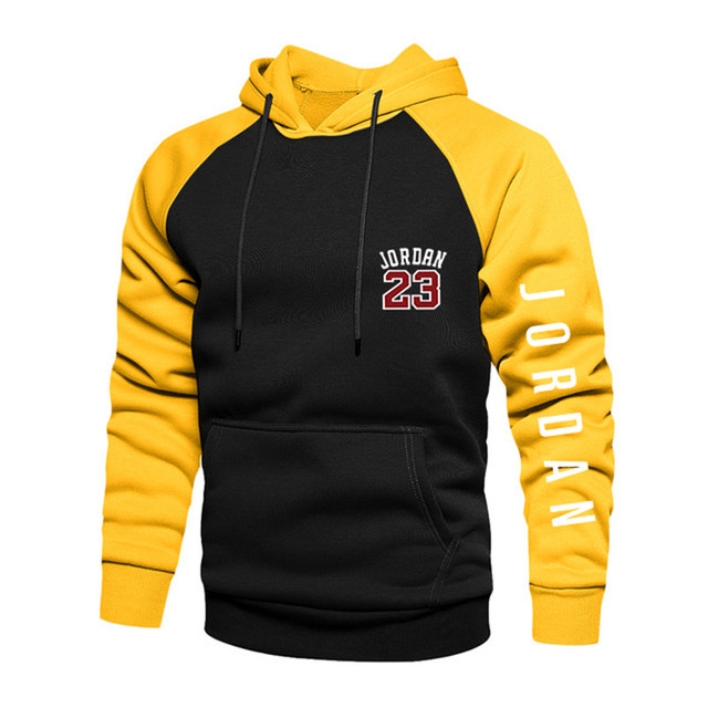 2021 New Spring Men's Loose Hoodie Long Sleeve Sweater Pullover Men's Raglan Sleeve Color Block Pocket 4xl Thick Warm Jacket 2