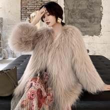 Новый стиль женское вязаное меховое пальто из меха енота