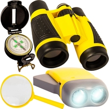 Outdoor Set Children Binoculars Flashlight Compass Magnifying Glass Toy Is Suitable for Camping Bird Watching