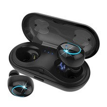 True Wireless Earbuds, TWS Stereo Bluetooth Headphones with Built-in HD Mic and Charging Case for iPhone Android - Black