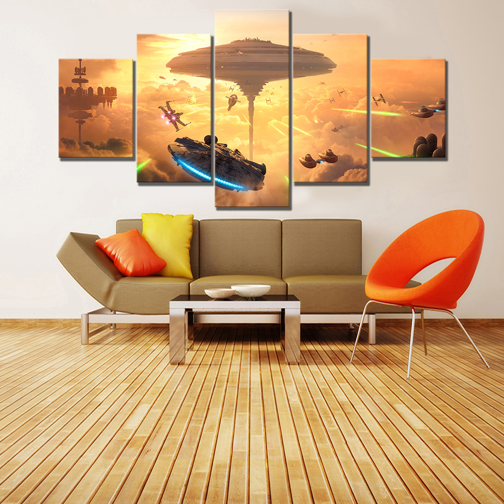 5 Piece HD Fantasy Art Spaceship Pictures Star Wars Battlefront Bespin Video Game Poster Paintings Canvas Decor obrazy plakat image