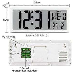"""Image 2 - TXL اضافية كبيرة الرؤية الرقمية ساعة حائط جامبو ساعة تنبيه 13.8 """"شاشة الكريستال السائل إنذار التقويم داخلي درجة الحرارة البطارية بالطاقة"""