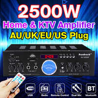 Hot Sales Powerful 2500W bluetooth 2.0 Channel Audio Power HiFi Amplifier Surround Effect with Remote Control for Car Home