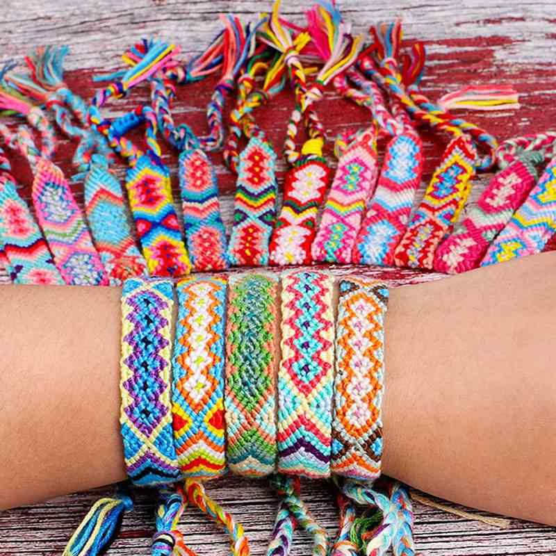Bohemian Hand-knitted Bracelet for Women Man Nepalese National Rainbow Color Fringe Rope Weaving Lucky Friendship Bracelet