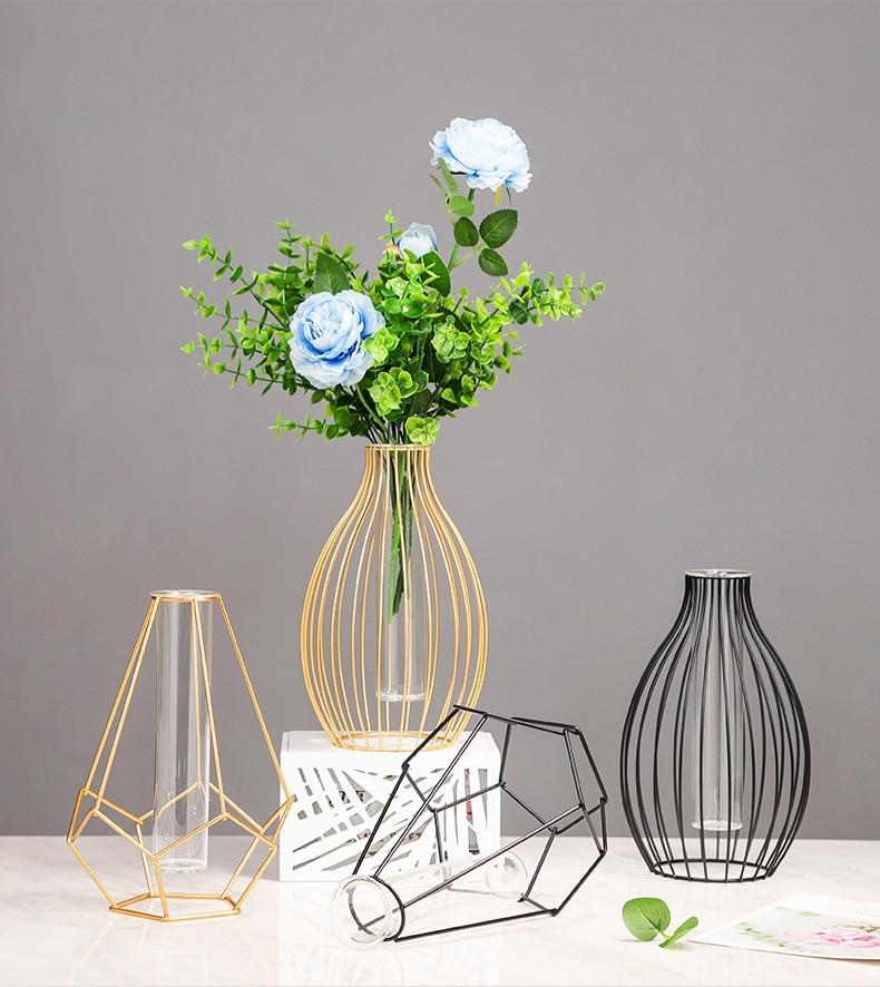 נורדי פשוט זהב זכוכית אגרטל הידרופוני צמח פרח אגרטל ברזל גיאומטרי זכוכית מבחנת מתכת צמח בעל מודרני בית תפאורה