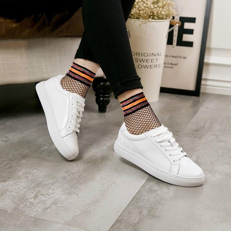 Women's Band White Sports Fishnet Socks Mesh Short Ankle Top Socks Girl Kawaii Striped Sock