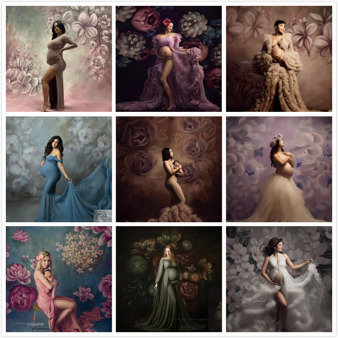 Fotografia backdrops pintura a óleo flores mulher grávida crianças retratos estúdio profissional foto personalizado impresso fundo