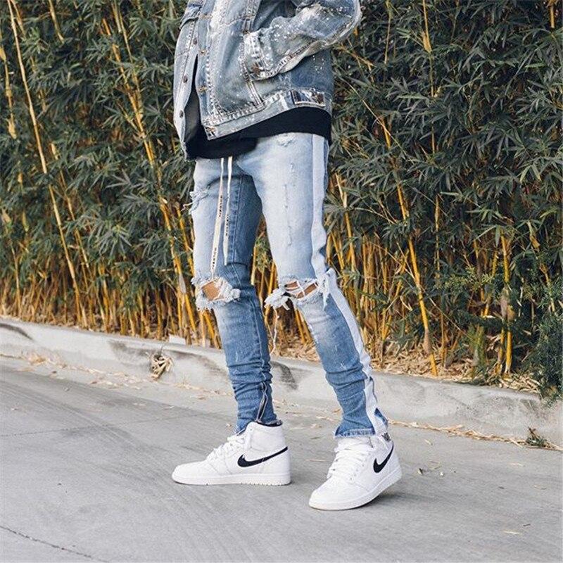 Skinny Jeans Men Streetwear Jeans Homme Hip Hop Broken Hole Male Pencil Pants Biker Pants Striped Pants