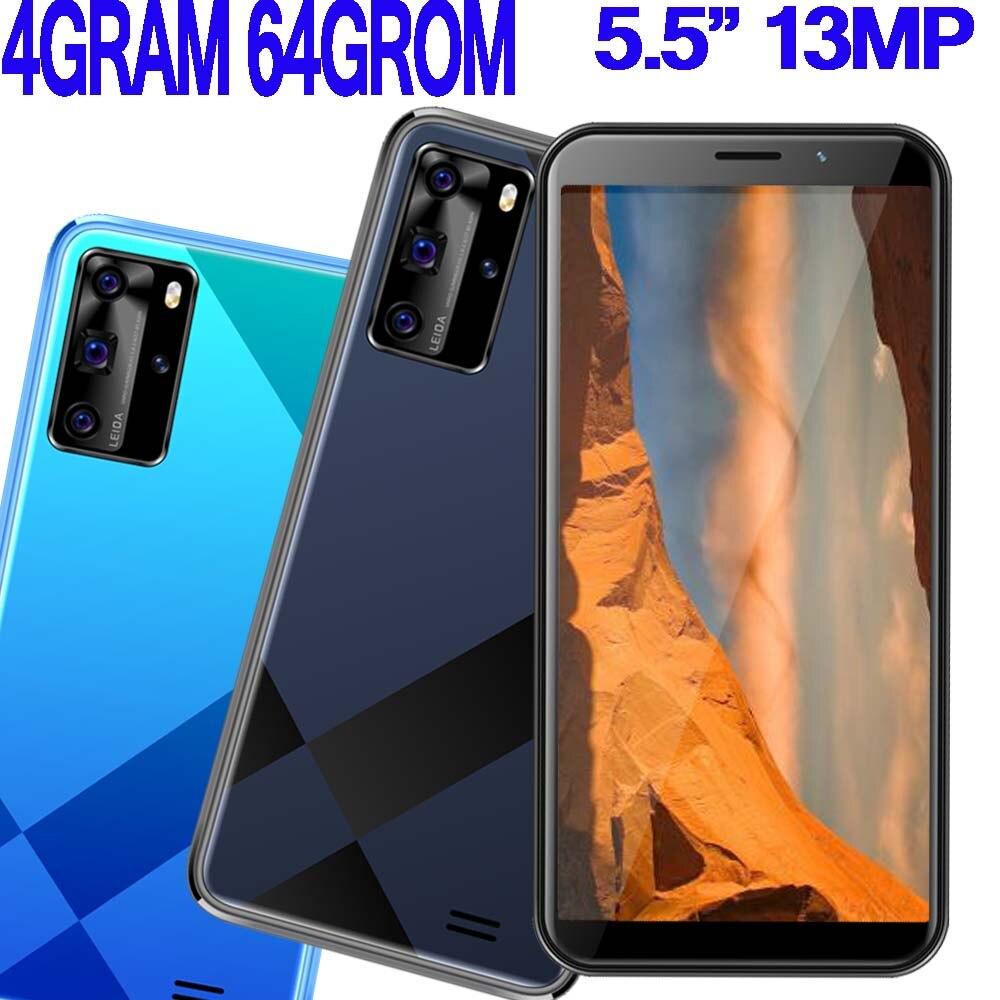 Смартфоны 8A Pro Android мобильный телефон 4 ГБ ОЗУ 64 Гб ПЗУ распознавание лица разблокированный 5,5 дюймов Celulares 13MP HD сотовые телефоны две Sim Wifi