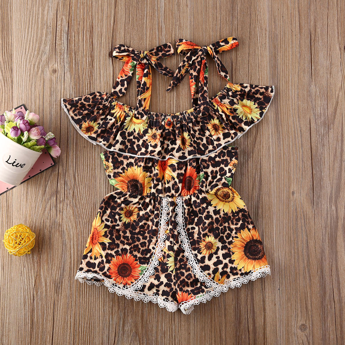 Pudcoco Toddler Baby Girl Clothes Leopard Sunflower Print Off Shoulder Strap Romper Jumpsuit One-Piece Outfit Cotton Clothes