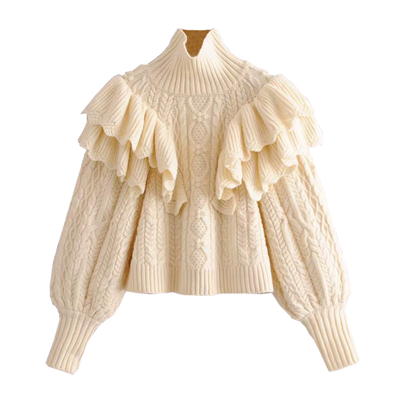 Solid Cascading Ruffle Sweaters Women Fashion Turtleneck Sweater Women Elegant Puff Sleeve Sweaters Female Ladies JAD