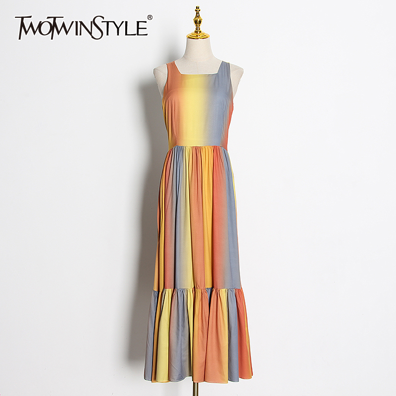 TWOTWINSTYLE Casual Hit Color Women Dress Square Collar Sleeveless High Waist Ruched Maxi Dresses Female Clothes Fashion Tide