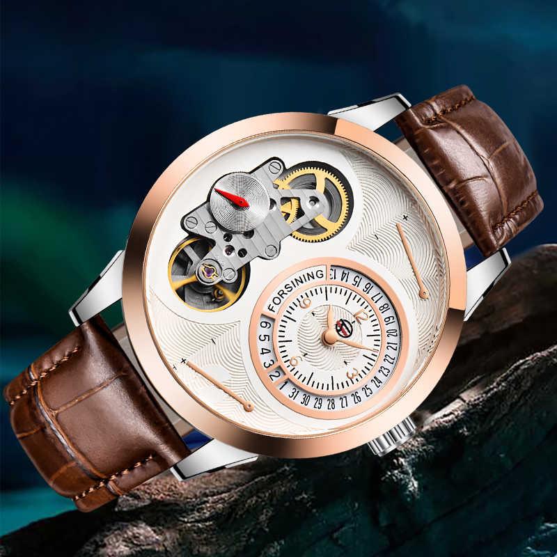 Forsining mode deuxième cadran tourmilliard Rose boîtier en or marron en cuir véritable hommes montres haut de gamme montre automatique de luxe