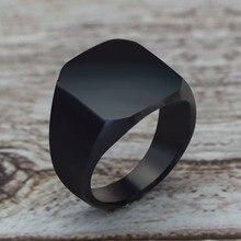 2020 moda estilo Simple anillo cuadrado negro anillo clásico boda compromiso joyería