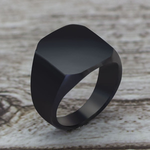 2020 Fashion Simple Style Black Square Ring Classic Ring Wedding Engagement Jewelry(China)