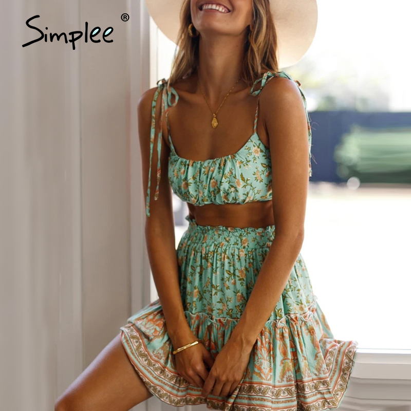 Simplee Bohemian Women Summer Dress Two Piece Floral Printed Female Sleeveless Short Sundress Set Summer Beach Ladies Mini Dress