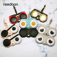 Reedoon Occhiali Da Sole Caso Delle Donne DELL'UNITÀ di elaborazione di cuoio Sveglio Del Fumetto Protable Occhiali Da Vista sacchetto di Immagazzinaggio del Sacchetto di Protezione